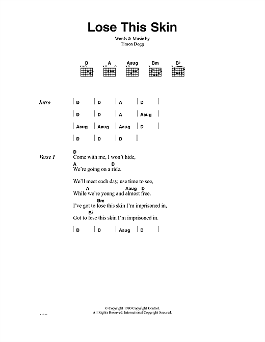 The Clash Lose This Skin sheet music notes and chords. Download Printable PDF.