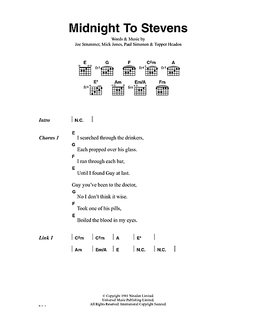 The Clash Midnight To Stevens sheet music notes and chords