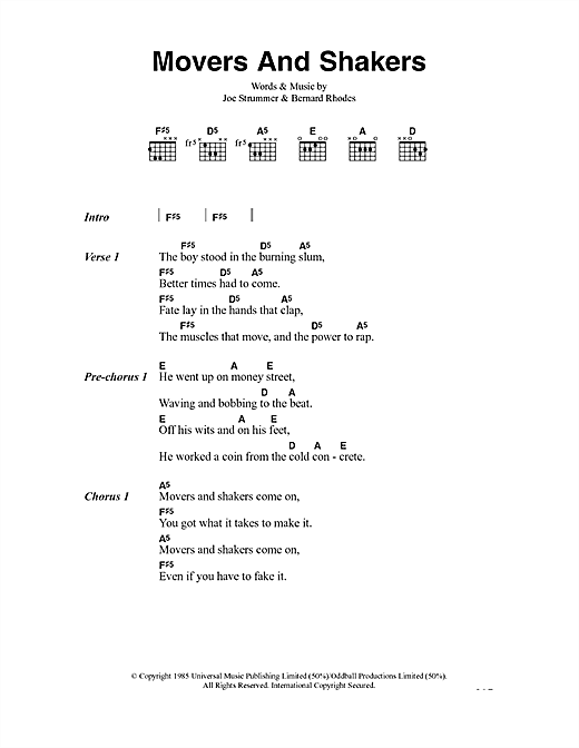 The Clash Movers And Shakers sheet music notes and chords. Download Printable PDF.