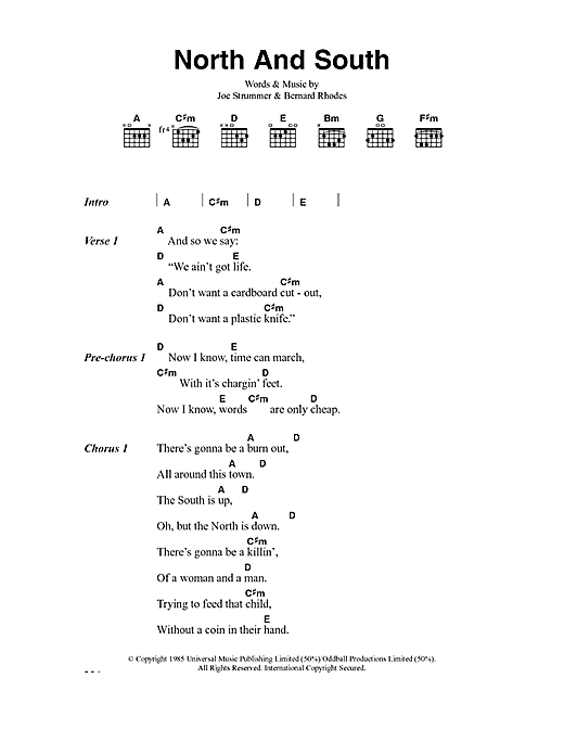The Clash North And South sheet music notes and chords. Download Printable PDF.