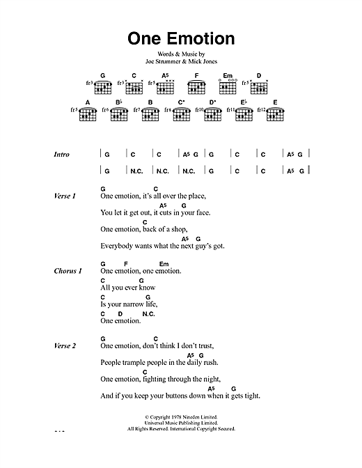 The Clash One Emotion sheet music notes and chords. Download Printable PDF.