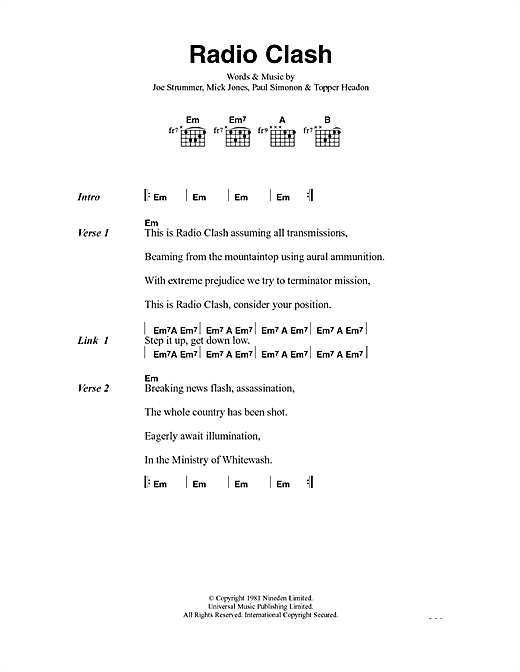 The Clash Radio Clash sheet music notes and chords. Download Printable PDF.