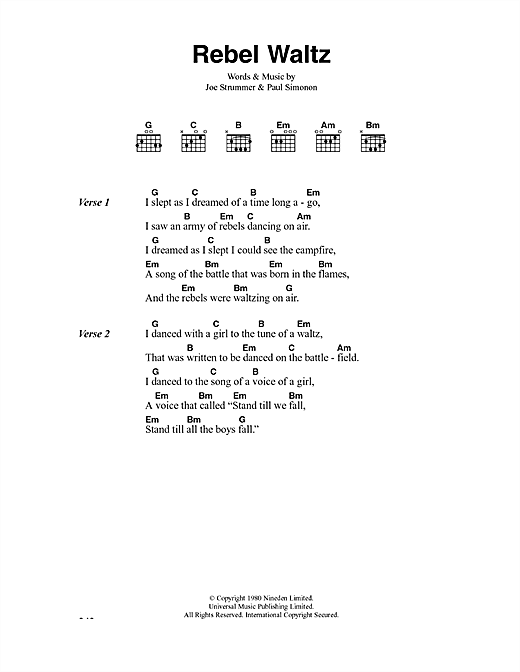 The Clash Rebel Waltz sheet music notes and chords. Download Printable PDF.