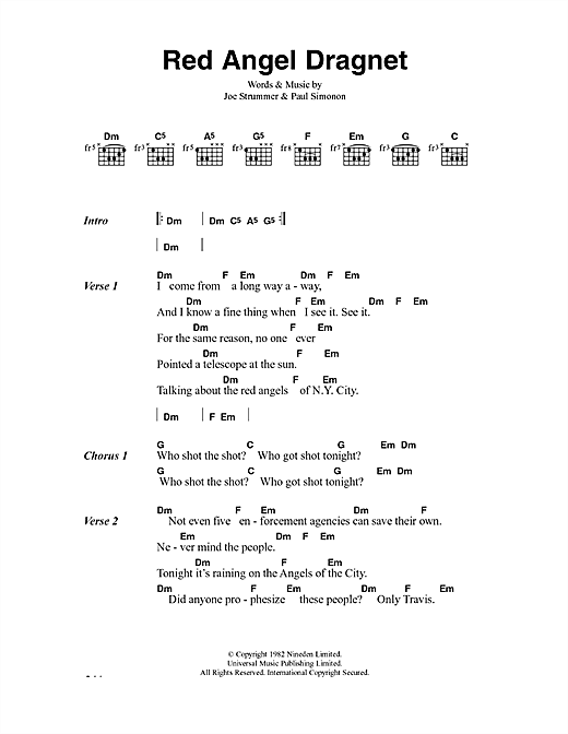 The Clash Red Angel Dragnet sheet music notes and chords. Download Printable PDF.