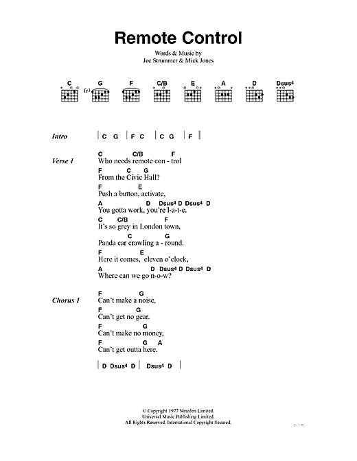 The Clash Remote Control sheet music notes and chords