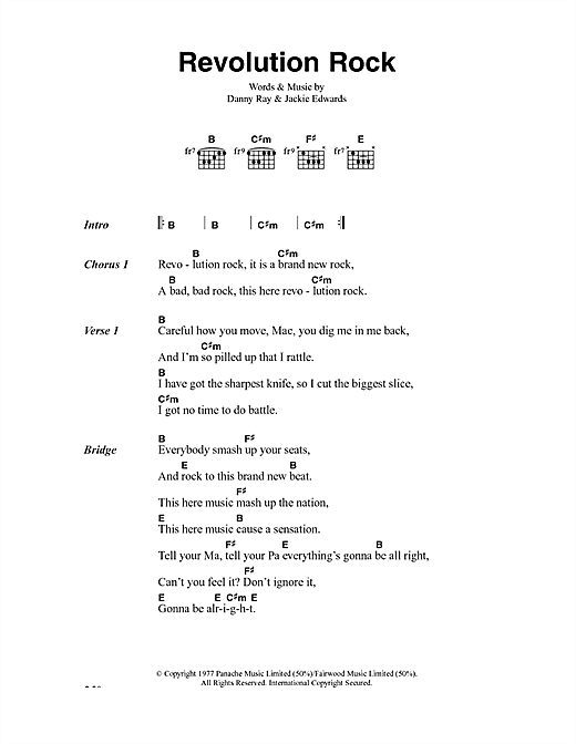 The Clash Revolution Rock sheet music notes and chords