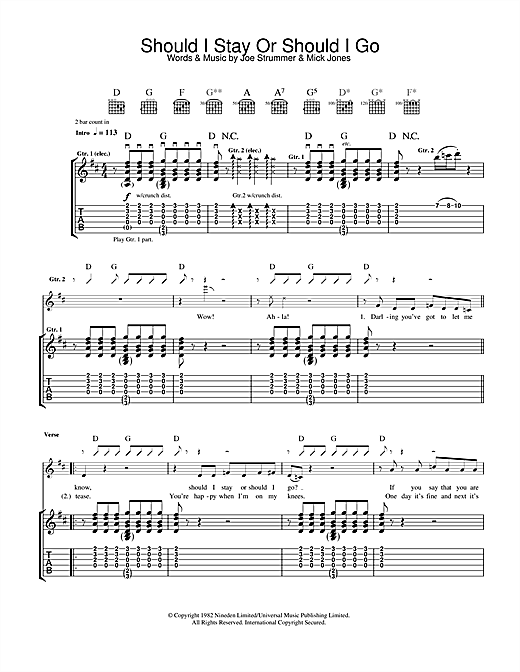 The Clash Should I Stay Or Should I Go sheet music notes and chords