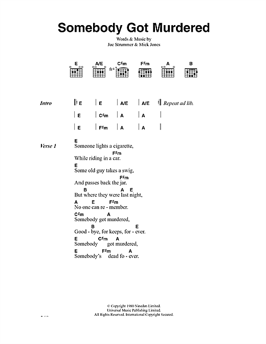 The Clash Somebody Got Murdered sheet music notes and chords. Download Printable PDF.