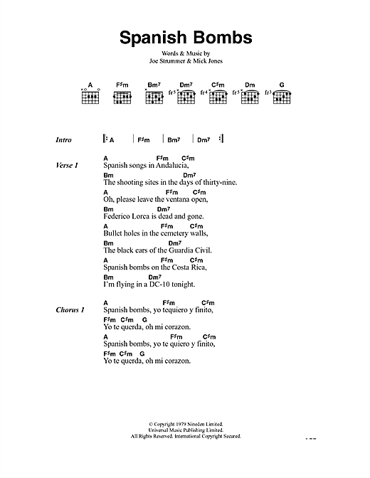 The Clash Spanish Bombs sheet music notes and chords