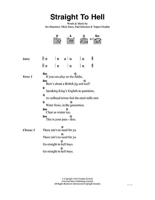 The Clash Straight To Hell sheet music notes and chords. Download Printable PDF.
