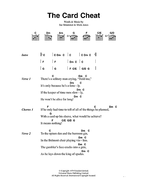 The Clash The Card Cheat sheet music notes and chords. Download Printable PDF.