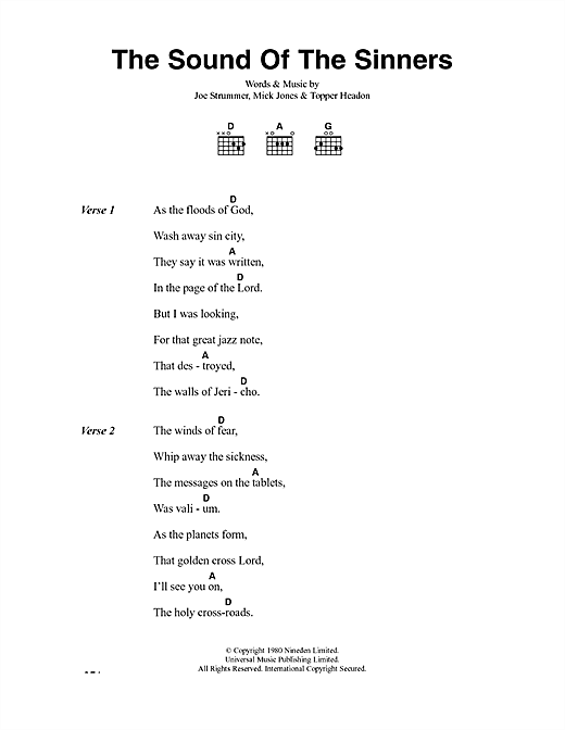 The Clash The Sound Of The Sinners sheet music notes and chords. Download Printable PDF.