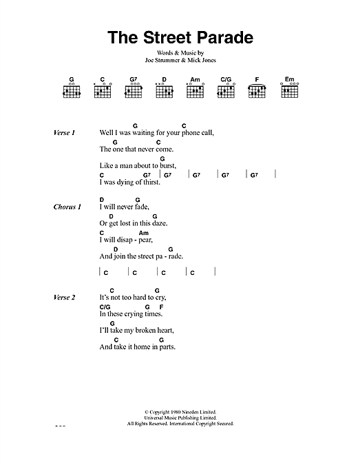 The Clash The Street Parade sheet music notes and chords