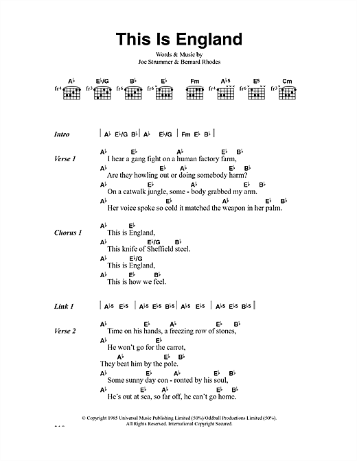 The Clash This Is England sheet music notes and chords. Download Printable PDF.