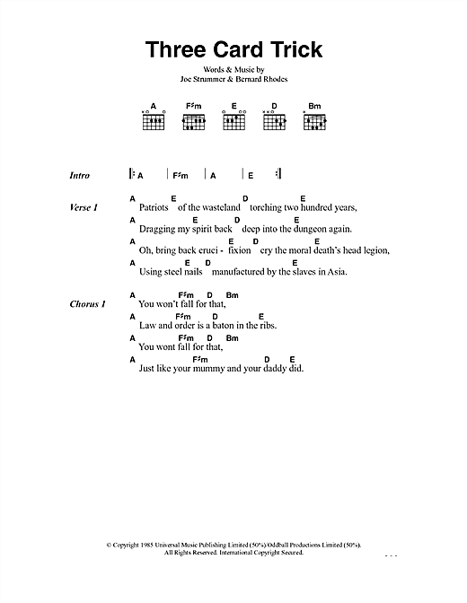 The Clash Three Card Trick sheet music notes and chords. Download Printable PDF.