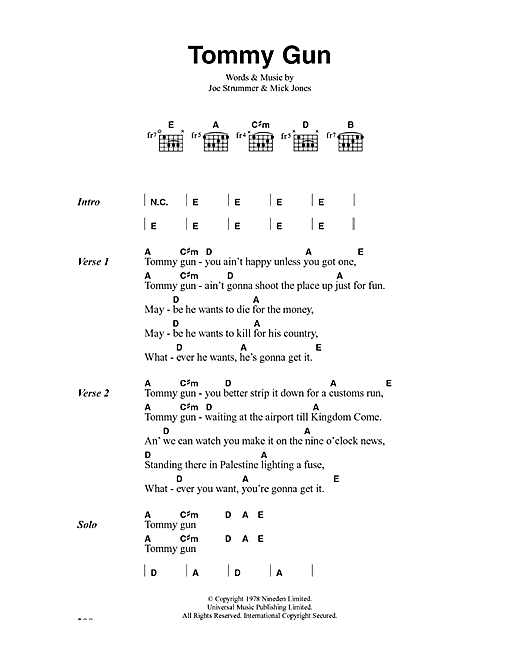 The Clash Tommy Gun sheet music notes and chords. Download Printable PDF.