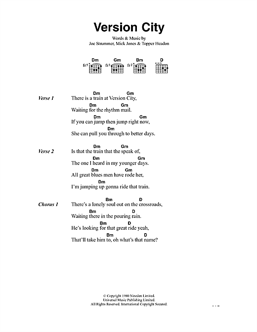 The Clash Version City sheet music notes and chords. Download Printable PDF.