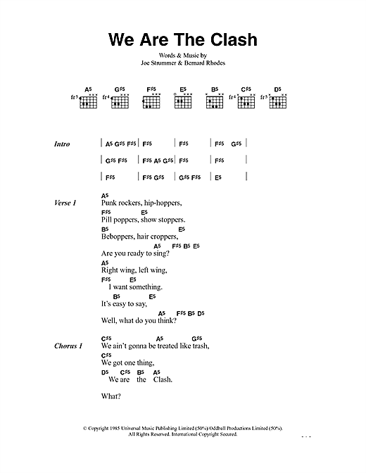 The Clash We Are The Clash sheet music notes and chords. Download Printable PDF.