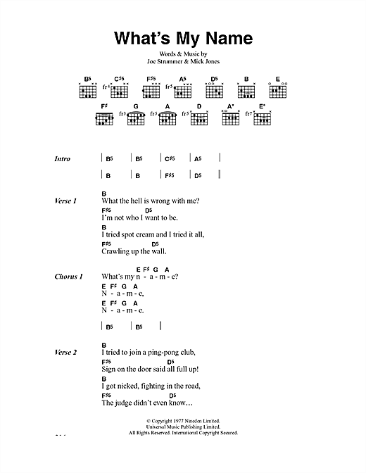 The Clash What's My Name sheet music notes and chords