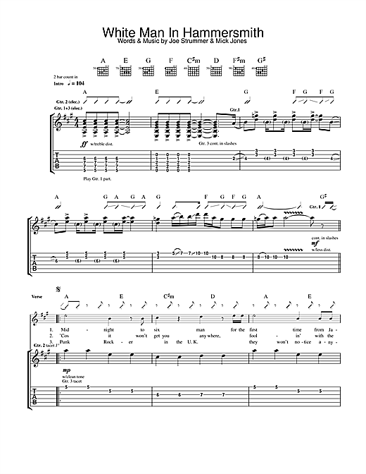 The Clash White Man In Hammersmith Palais sheet music notes and chords. Download Printable PDF.