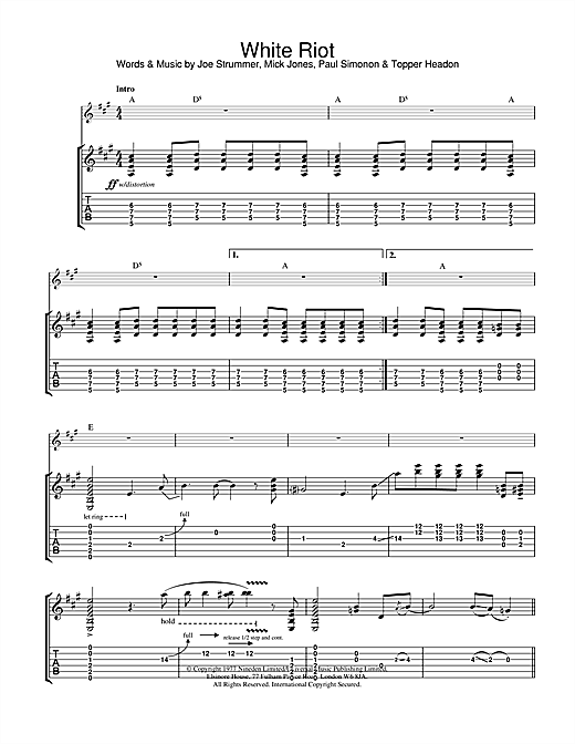 The Clash White Riot sheet music notes and chords. Download Printable PDF.