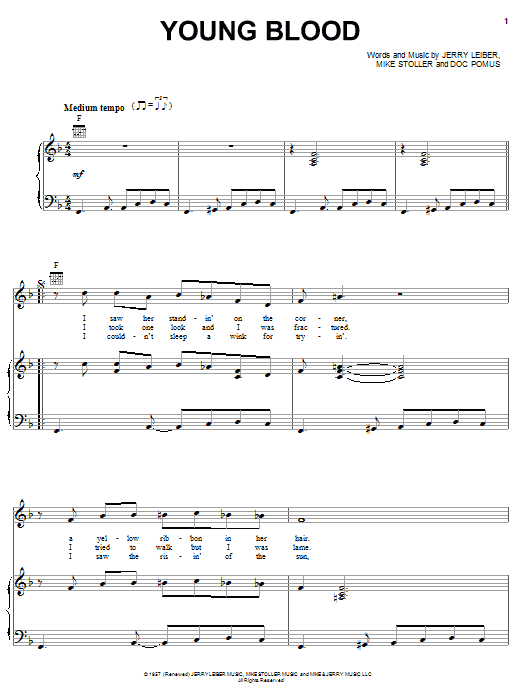 The Coasters Young Blood sheet music notes and chords. Download Printable PDF.