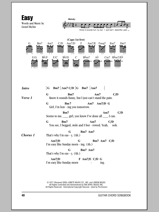 The Commodores Easy sheet music notes and chords. Download Printable PDF.
