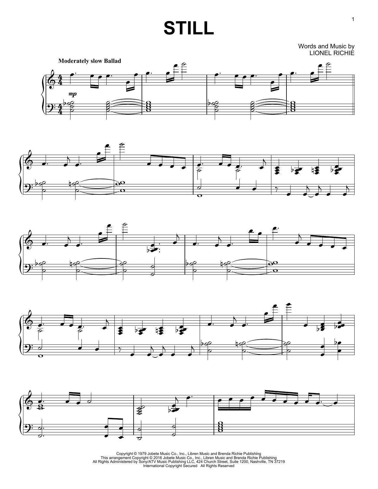 Commodores Still sheet music notes and chords. Download Printable PDF.