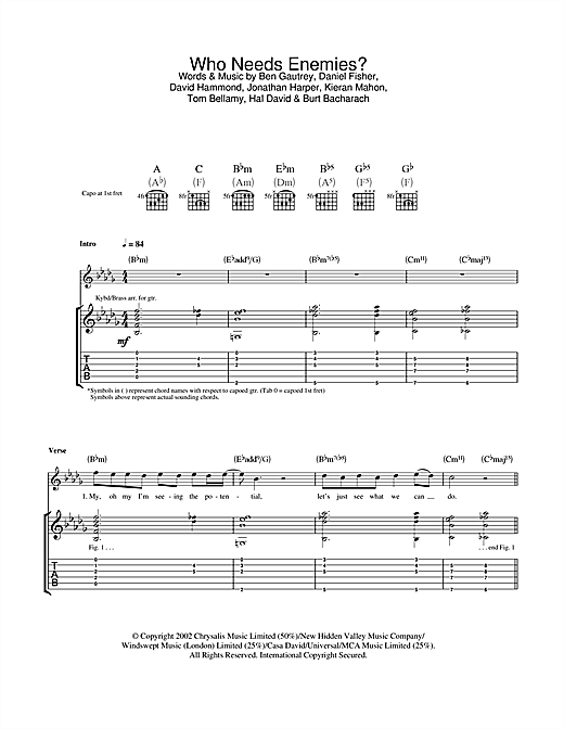 The Cooper Temple Clause Who Needs Enemies? sheet music notes and chords