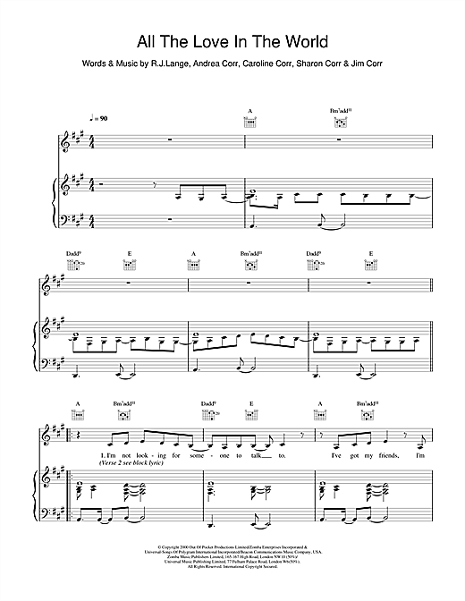 The Corrs All The Love In The World sheet music notes and chords. Download Printable PDF.