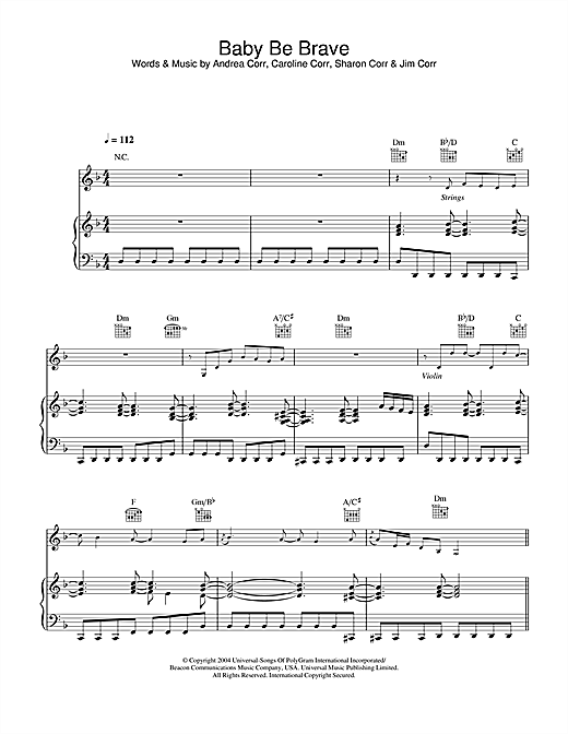 The Corrs Baby Be Brave sheet music notes and chords. Download Printable PDF.