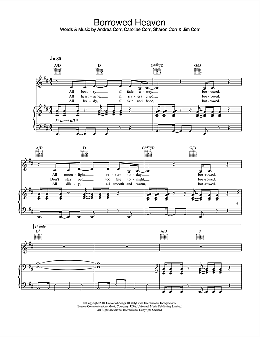 The Corrs Borrowed Heaven sheet music notes and chords. Download Printable PDF.