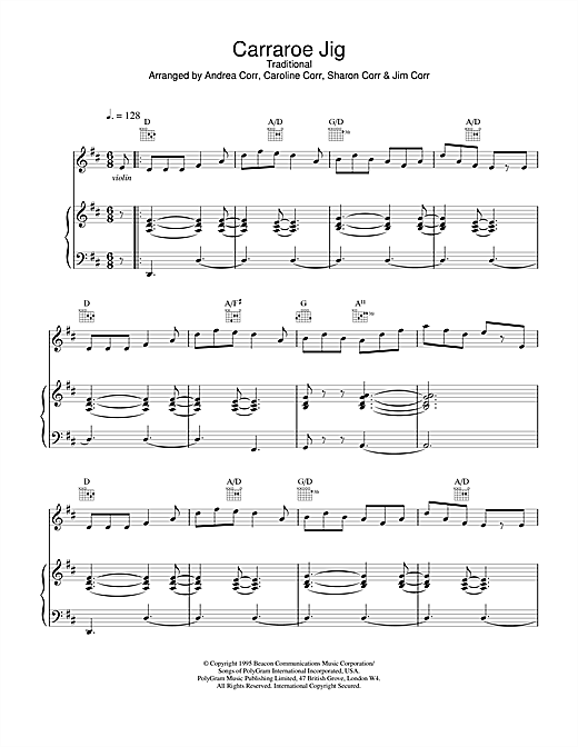 The Corrs Carraroe Jig sheet music notes and chords. Download Printable PDF.