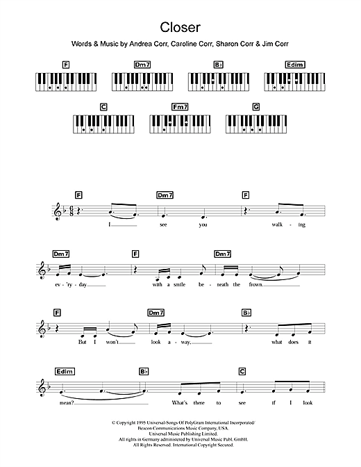 The Corrs Closer sheet music notes and chords. Download Printable PDF.