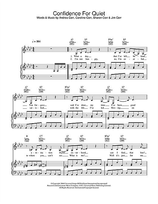 The Corrs Confidence For Quiet sheet music notes and chords. Download Printable PDF.