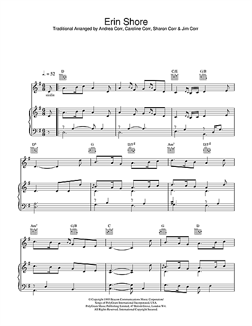 The Corrs Erin Shore sheet music notes and chords