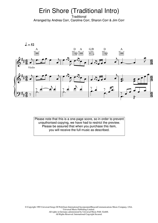 The Corrs Erin Shore (Traditional Intro) sheet music notes and chords
