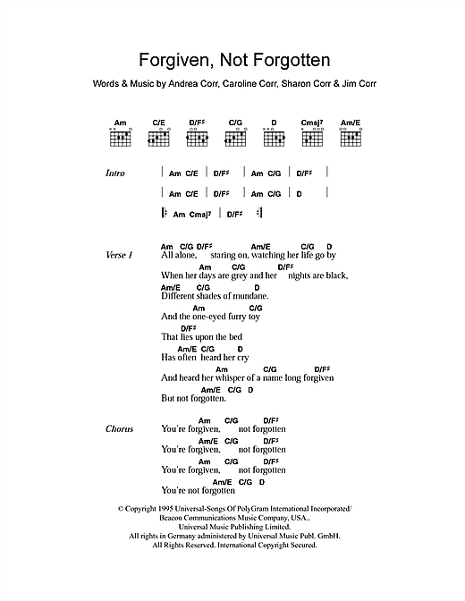 The Corrs Forgiven, Not Forgotten sheet music notes and chords. Download Printable PDF.