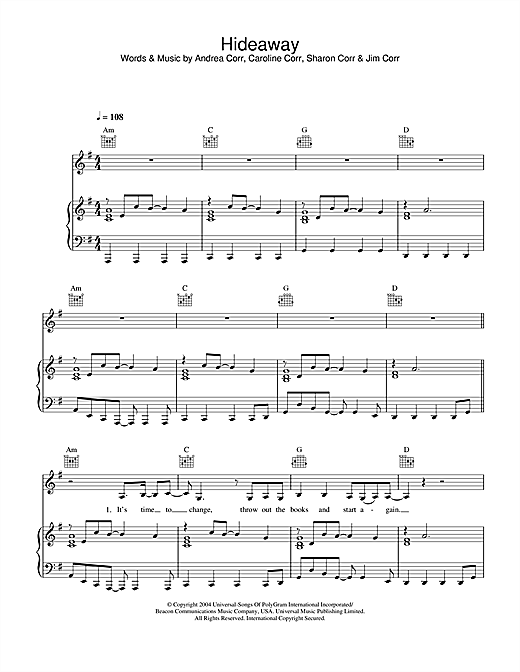 The Corrs Hideaway sheet music notes and chords. Download Printable PDF.