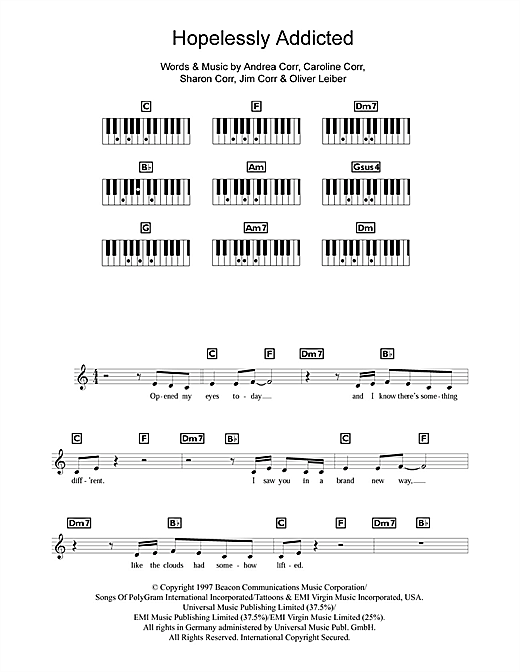 The Corrs Hopelessly Addicted sheet music notes and chords