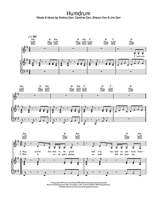 The Corrs Humdrum sheet music notes and chords. Download Printable PDF.