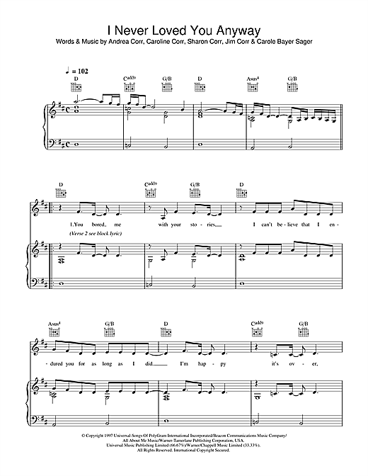 The Corrs I Never Loved You Anyway sheet music notes and chords