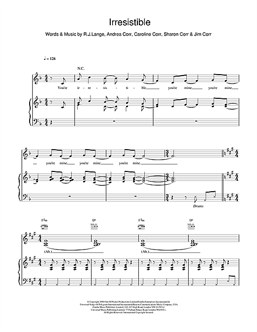 The Corrs Irresistible sheet music notes and chords