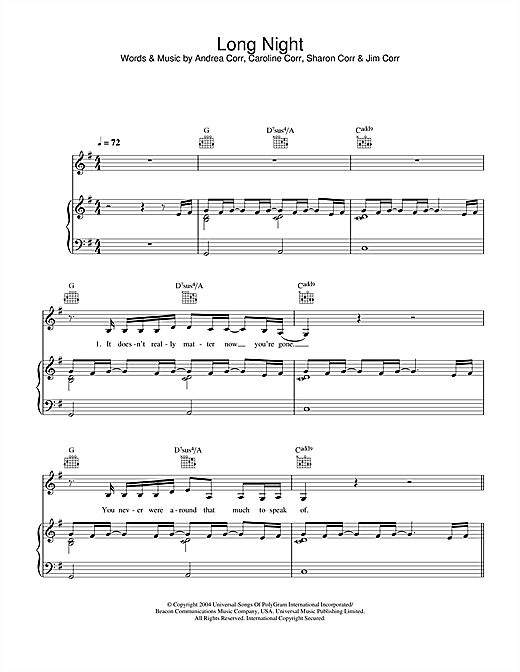 The Corrs Long Night sheet music notes and chords. Download Printable PDF.
