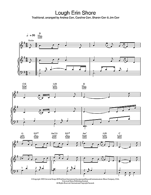 The Corrs Lough Erin Shore sheet music notes and chords. Download Printable PDF.