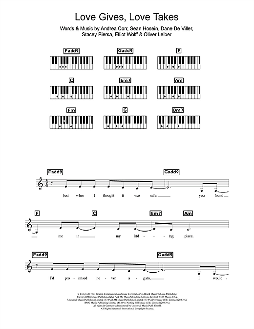 The Corrs Love Gives Love Takes sheet music notes and chords. Download Printable PDF.