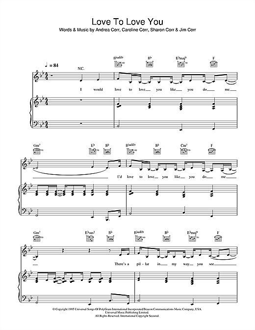 The Corrs Love To Love You sheet music notes and chords. Download Printable PDF.