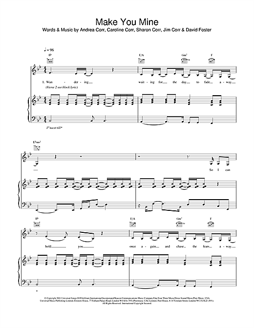 The Corrs Make You Mine sheet music notes and chords