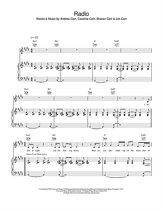 The Corrs Radio sheet music notes and chords