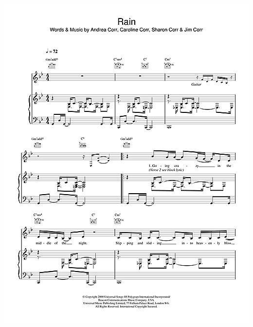 The Corrs Rain sheet music notes and chords